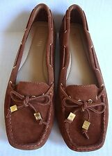 BRAND NEW MICHAEL KORS WOMEN'S AMBER MOC SUEDE LOAFER SHOES LUGGAGE 6-6.5-7