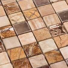 Glasmosaik Fliesen Mosaik Crossover Braun Beige Mamor Mix