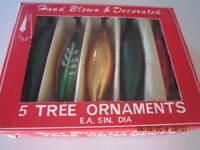 "Box of 5 Vintage Mercury Glass Hand Blown Teardrop Christmas Ornaments  5.5"""