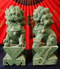 Feng Shui Pair Jade Temple Lions Sculpture / Statue - Gorgeous