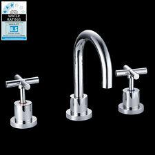Bathroom WELS Round Gwen Full Turn Basin Tap Set Brass Chrome Swivel Spout