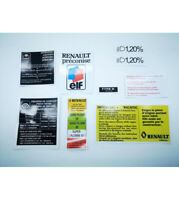9 Autocollants stickers Renault clio Williams  compartiment moteur
