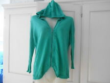 Gap Green Hooded Front Zip Fine Cotton Knit 3/4 Sleeve Cardigan - S/UK10