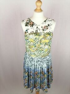 Womens Oasis Sleeveless A-Line Dress UK Size 14 Floral Pattern Polyester BNWT