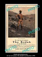 POSTCARD SIZE PHOTO OF KODAK CAMERA ADVERTISING POSTER KODAK AT THE FRONT c1900