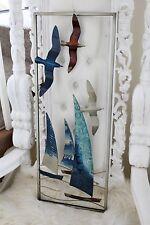 In metallo grande Nautico Barca a Vela Blu Argento Wall Art Nautico Mare da appendere