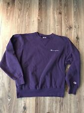 VTG 90s Champion Spell Out Cursive Script Purple Gray Crewneck Sweatshirt Sz M