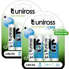 8 x Uniross AA 1300 mAh Rechargeable Batteries NiMH - HR6, LR6, DC1500, MN1500