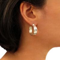 Solid 925 Silver Hoop Hammered Circle Earrings Hoops