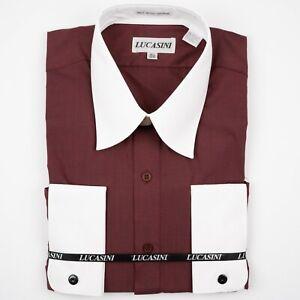 Red & White Melange Fabric French Cuff Men's Dress Shirt by Lucasini