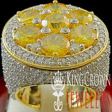 BIG XXL REAL YELLOW GOLD SILVER MENS CITRINE CANARY JUMBO RING BAND LAB DIAMOND