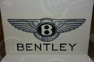 "LARGE BENTLEY DEALERSHIP WING SIGN. 24"" X 47"" VERY SCARCE! EXCELLENT CONDITION!"