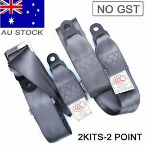 For Kia Hyundai 2 Point Seat Sash Belt Strap Kit Rear Passenger Gray Universal