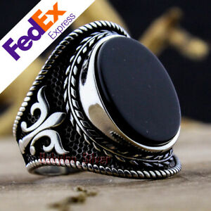 Onyx Stone 925 Sterling Silver TURKISH Handmade Anchor Luxury Men Ring All Sizes