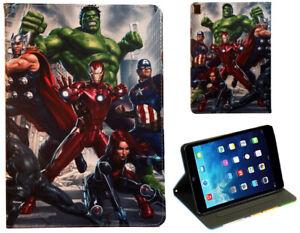 For Apple iPad Mini 1 2 3 4 5 Iron Man Spider man Hulk Loki Marvel Case Cover +