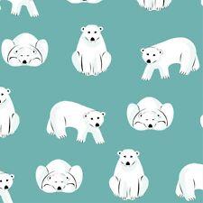 Organic Cotton Flannel Cloud 9 - Polar Bears - Turquoise- Northerly Range 170gsm