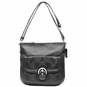NEW Coach F26244 Campbell Signature Metallic North South Duffle Hobo- Black