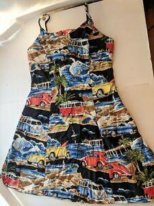 Vintage Paradise Found Summer Slip Dress Volkswagen Theme Size M