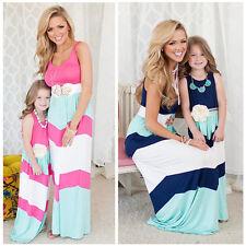 Mother Daughter Dresses Summer Family Clothes Striped Girls Kids Dress Sundress