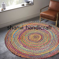 Bohemian Braided Round 90 CM Jute Cotton Hand Woven Floor Carpet Area Rug Carpet