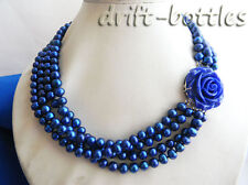 4Strands 18'' 7mm Blue Round Freshwater Pearl Necklace