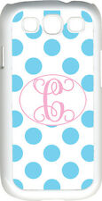 One Initial Monogram White and Baby Blue Polka Dot Samsung Galaxy S3 Case Cover