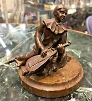 ANTIQUE VIENNA AUSTRIA BRONZE SCULPTURE OF A MUSICIAN