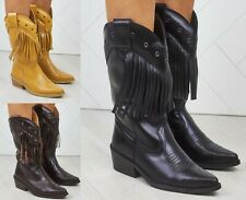Mujer señoras de cuero real vaquero occidental Estilo Tobillo Botas Zapatos Talla De Flecos