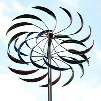 Metal Wind Spinner Garden Yard Kinetic Outdoor Decor Whirligig Windmill Rainbow