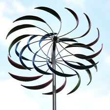 "Metal Kinetic Rainbow Wind Spinner Yard Art Double Spiral Garden Pinwheel 79"""