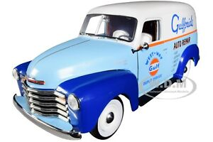 """1948 CHEVROLET PANEL DELIVERY TRUCK """"GULF"""" 1/18 DIECAST CAR BY AUTOWORLD AW250"""