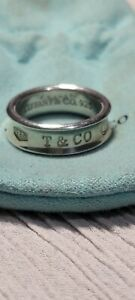 Tiffany & Co. Sterling Silver Size 8 1/2 Wide Concave Band 1837 Ring