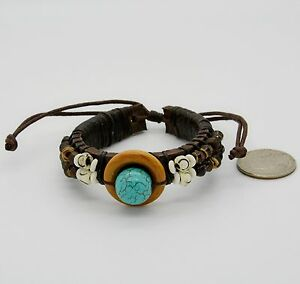 Surfer Leather Wristband Men Women Cuff Brown Brass Beads Wood set of 3