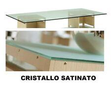 Top piano rettangolare vetro cristallo satinato sp. 12 mm 80x160 cm per tavolo