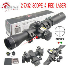 AIM SPORTS 2-7X32MM LONG EYE RELIEF SCOUT SCOPE WITH RED LASER & DUPLEX RETICLE