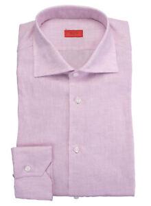 NWT ISAIA Napoli dress SHIRT linen MIX pink spread luxury handmade Italy 43 17