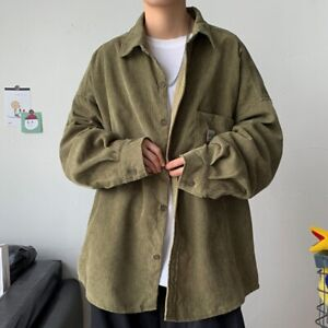 Casual Men Corduroy Shirt Coat Jacket Tops Blouse Retro Striped Botton