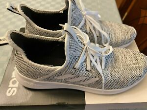 Size 9 Women's Adidas Cloudfoam Pure Running Sneakers - Gray & White  #DB0695