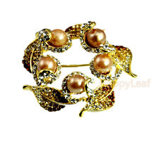 Brooch Pin Russian Cz wedding gift 18K Yellow gold plated Simulated-Pearl Flower