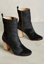 NEW Anthropologie Dav Calf Fur Floral Boots Size 7 Black