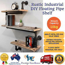 New Indoor/Outdoor Rustic Industrial DIY Floating Pipe Shelf 3 Level Pipe Shelf