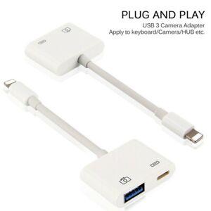 2 in 1 USB 3 Camera Reader Adapter for iPhones iPad Keyboard Hub HOT