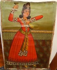WOMAN OF INDIA OLD 19TH CENTURY ORIGINAL OIL ON CANVAS PAINTING UNSIGNED