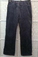 PER UNA Ladies Trousers Size 12 UK Purple Grey Velour Cotton Blend Straight Leg