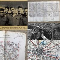 WWII Rare 79th Infantry 310th Field Artillery Paris-Reims Combat Map WW2 Relic