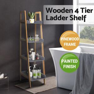 4 Tier Display Ladder Shelf Bookcase Bookshelf Storage Rack Wooden Flower Stand