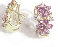 3.1 cttw Natural Pink Sapphire & Diamond 14k Yellow Gold 2 Flower Woman Earrings