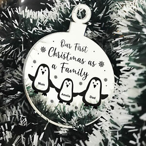 Personalised Our First Christmas As A Family Engraved Bauble New Baby Gift