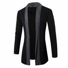 Mens Knitted Cardigan Jacket Slim Long Sleeve Casual Sweater Coat Blazer gray
