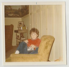 Square Vintage 70s PHOTO Little Boy w/ Camera In Chair
